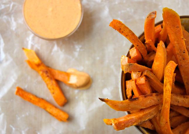 sweet potato fries with sriracha & creme fraiche